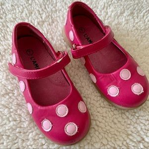 L'Amour pink leather polka dot Mary Janes size 7